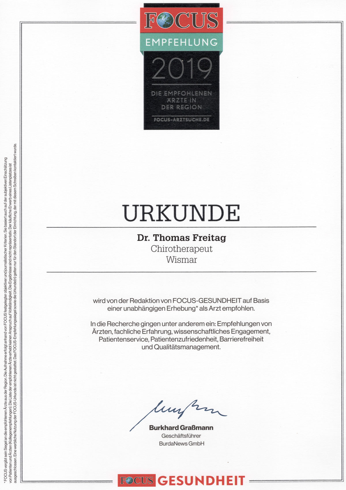 Chirotherapeut Wismar Dr. Freitag